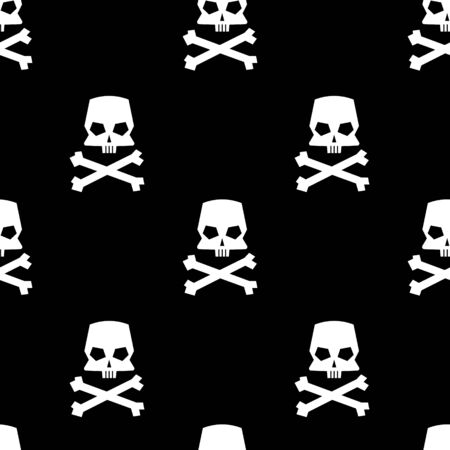Skull and crossbones seamless pattern on black background. Vector illustration.