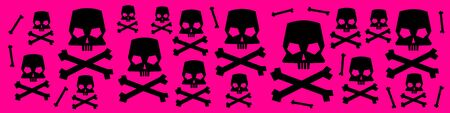 Web banner with skull and crossbones silhouettes on pink background. Vector illustration.