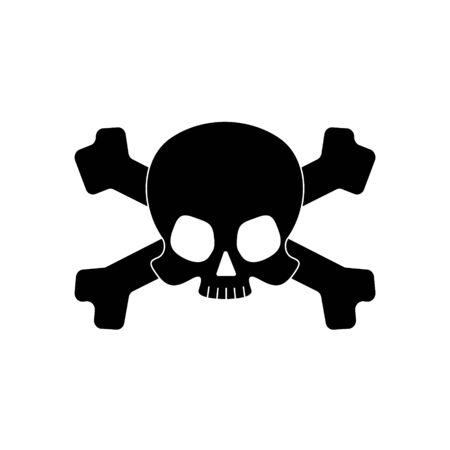 Skull with crossbones overlaped silhouette isolated on white background. Vector illustration.