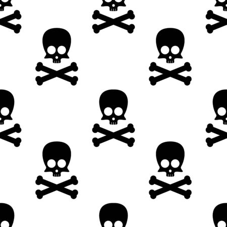 Cute skull and crossbones square seamless pattern on white background. Vector illustration.
