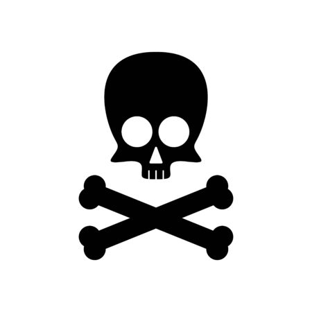 Cute skull with crossbones silhouette isolated on white background. Vector illustration. 일러스트