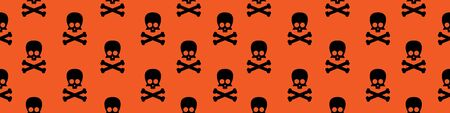Web seamless banner with cute skull and crossbones silhouettes on orange background. Vector illustration. 일러스트