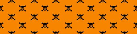 Web seamless banner with wicked skull and crossbones silhouettes on orange background. Vector illustration.