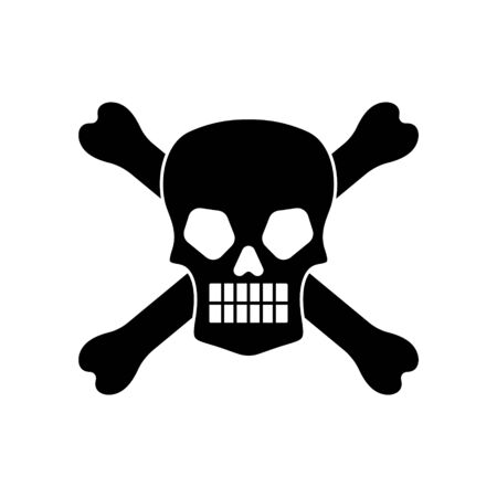 Wicked skull with crossbones overlaped silhouette isolated on white background. Vector illustration.