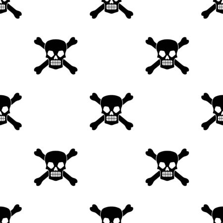 Wicked skull and crossbones square seamless pattern on white background. Vector illustration. 일러스트