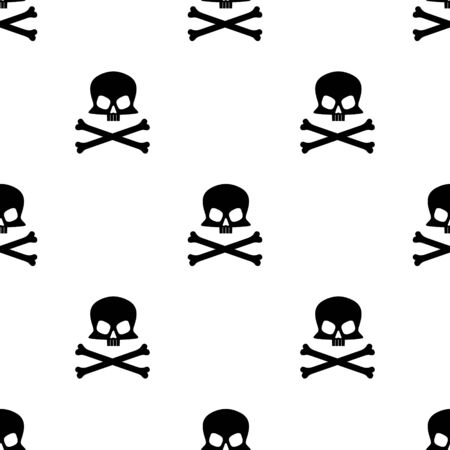 Skull and crossbones simple square seamless pattern on white background. Vector illustration. Çizim