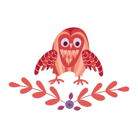 Woodland emblem. Cute cartoon owl with plants isolated on white background. Vector illustration.
