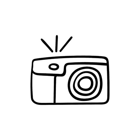 Camera with flashlight outline hand drawn icon isolated on white background. Vector illustration.