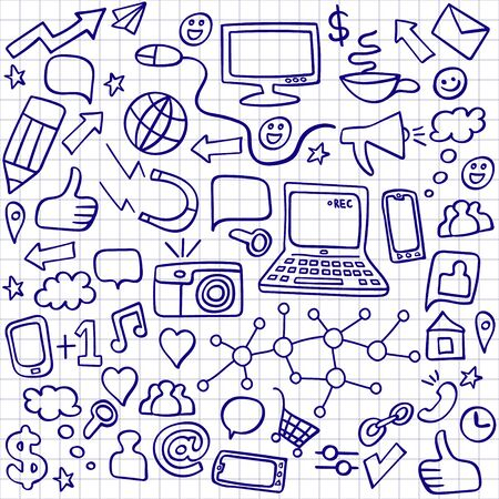 Social media ballpoint doodles set. Computer technology hand drawn icons. Vector illustration.
