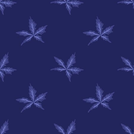 Blue floral seamless pattern with geranium pratense leaves. illustration.