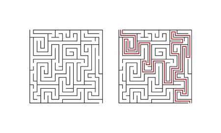 Labyrinth maze game for children. Second level puzzle with solution. Vector illustration.