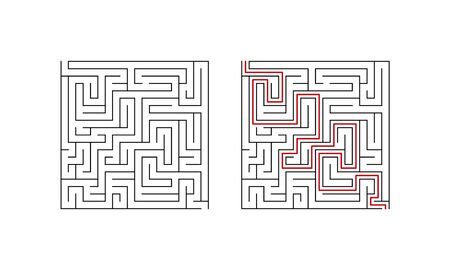 Labyrinth maze game for children. Difficult puzzle with solution. Vector illustration.