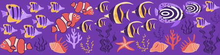 Tropical fish web banner. Cute cartoon underwater creatures on purple background. Vector illustration. Ilustração