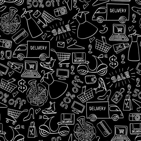 Online shopping seamless pattern. White hand drawn e-commerce objects isolated on black background. Vector illustration.