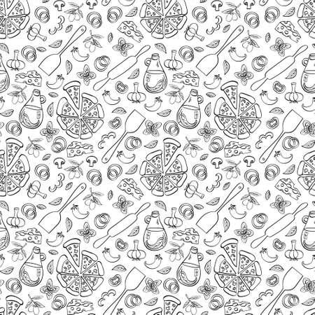 Pizza seamless pattern. Doodle food objects isolated on white background. Vector illustration. Vektorgrafik