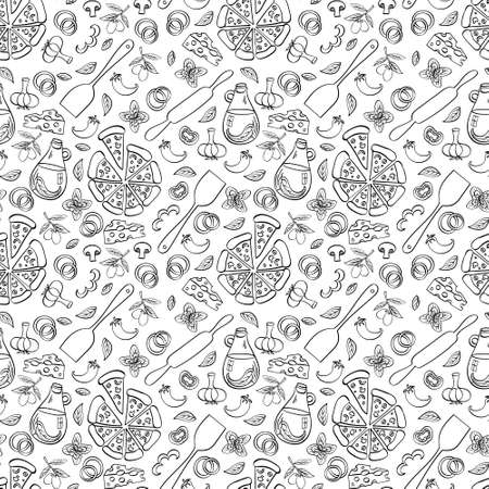Pizza seamless pattern. Doodle food objects isolated on white background. Vector illustration. Vetores