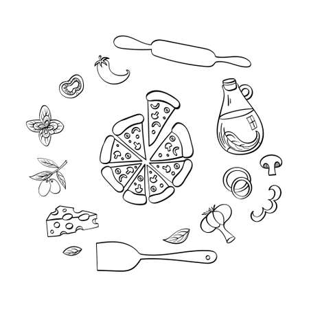 Pizza with ingredients hand drawn set. Doodle food isolated on white background. Vector illustration. Ilustração