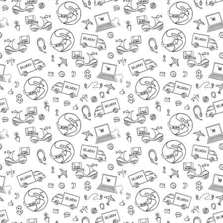Delivery hand drawn seamless pattern. Doodle shipping elements on white background. Vector illustration.