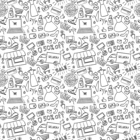 Online shopping hand drawn seamless pattern. Doodle e-commerce background. Vector illustration.