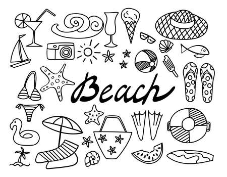 Summer beach hand drawn icons. Vacation doodles isolated on white background.