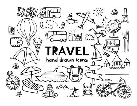 Hand drawn travel icons. Summer vacation doodles isolated on white background. Vector illustration.