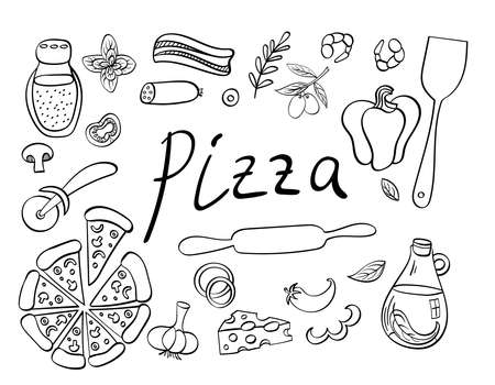 Pizza with ingredients and supplies hand drawn set. Food doodles isolated on white background. Vector illustration.