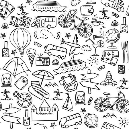 Hand drawn travel seamless pattern. Summer vacation doodles on white background. Vector illustration.