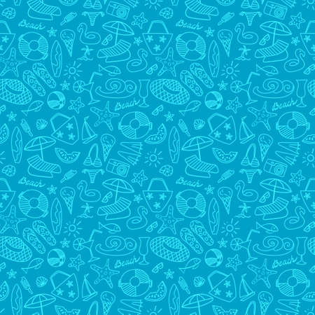 Summer beach hand drawn seamless pattern. Vacation doodles on blue background.