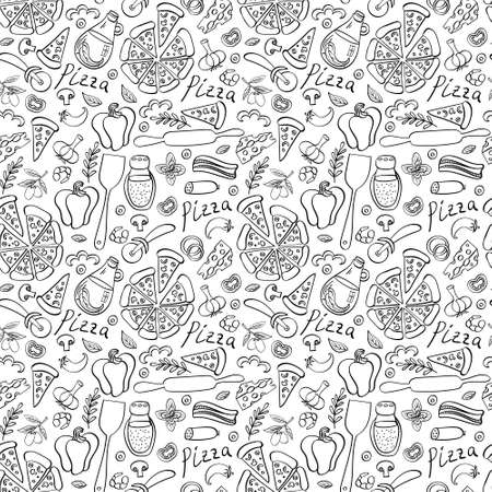 Pizza with ingredients and supplies hand drawn seamless pattern. Food doodles isolated on white background. Vector illustration.