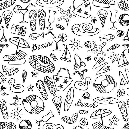 Summer beach hand drawn seamless pattern. Vacation doodles on white background.