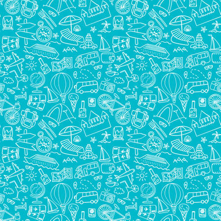 Hand drawn travel seamless pattern. Summer vacation doodles on blue background. Vector illustration. Vectores