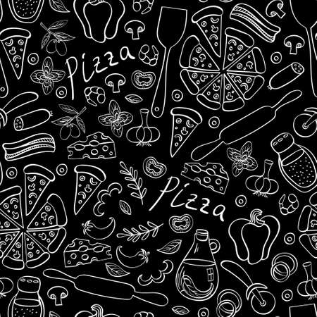 Pizza with ingredients and supplies hand drawn background. Food doodles seamless pattern. Vector illustration.