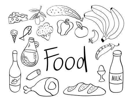 Food hand drawn icons set. Cooking ingredients isolated on white background. Vector illustration. Ilustracja