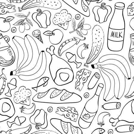 Food hand drawn seamless pattern. Cooking ingredients on white background. Vector illustration. Vectores
