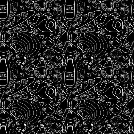 Food hand drawn seamless pattern. Outline cooking ingredients on black background. Vector illustration.