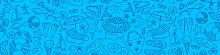 Summer beach hand drawn seamless banner. Vacation doodles on blue background. Vectores