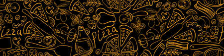 Pizza with ingredients and supplies hand drawn seamless banner. Food doodles on black background. Vector illustration.