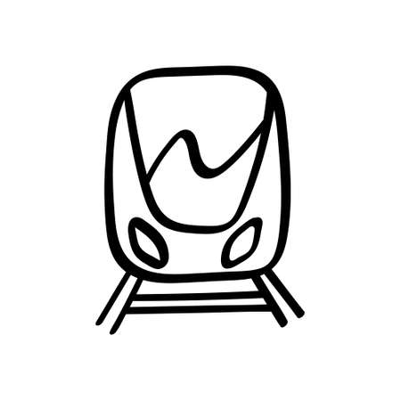 Hand drawn train icon isolated on white background. Vector illustration.