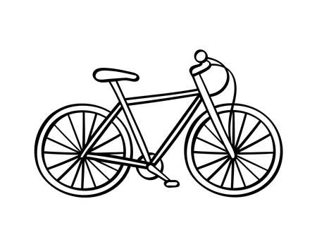 Hand drawn bicycle icon isolated on white background. Vector illustration. Vectores