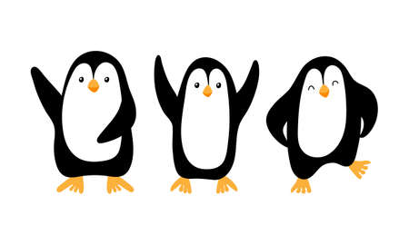 Cute cartoon penguins isolated on white background. Vector illustration.