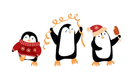 Cute cartoon penguins celebrating Christmas.