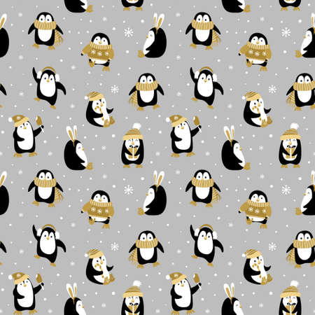 Seamless pattern with cute cartoon penguins on grey background. Funny Chrismas print. Vector illustration. Vectores