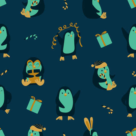 Seamless pattern with cute cartoon penguins on dark blue background. Funny Chrismas print. Vector illustration. Vectores