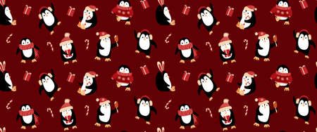 Seamless border with cute cartoon penguins on dark red background. Funny Chrismas print. Vector illustration.