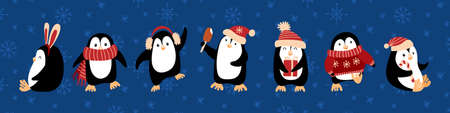 Cute cartoon penguins celebrating Christmas. Funny characters on blue background with snow. Vector illustration. Vectores