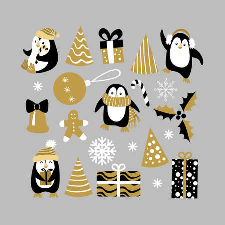 Christmas decoration set with penguins for postcards and backgrounds. Vector illustration. Vectores