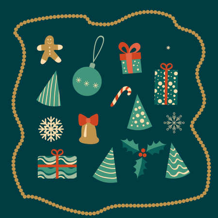 Christmas decoration set on green background. Vector illustration.