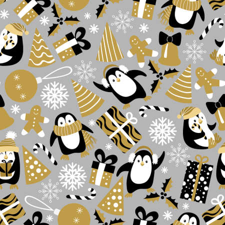 Christmas seamless pattern with penguins on grey background. Vector illustration. Vectores