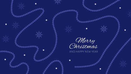 Christmas and New Year poster with beads and snowflakes on dark blue background. Vector illustration.