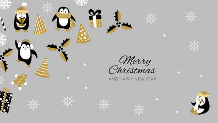 Christmas background with penguins and decoration. Vector illustration. Vectores